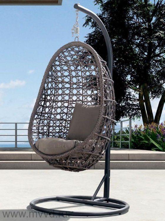 Подвесное кресло-яйцо Флоренция на стойке с подушкой – серо-коричневое (KR)