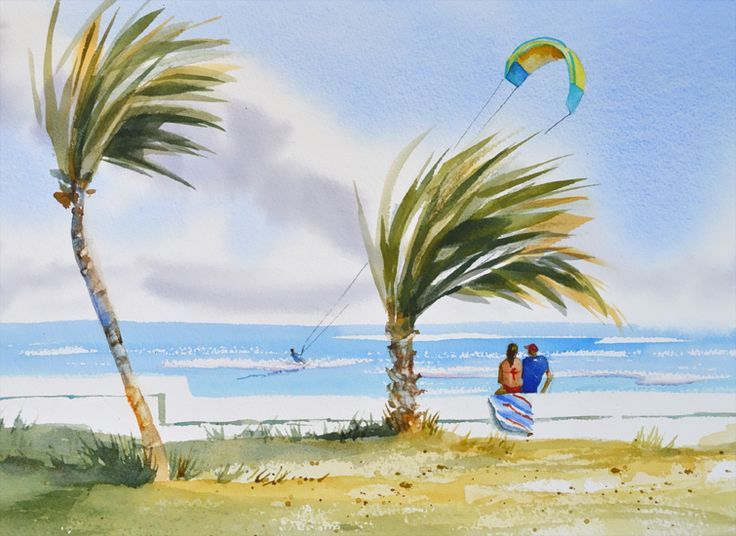 Kitesurfing Ft Lauderdale Beach. Original Artwork, Size: 10 x 13 inch Medium: watercolor
