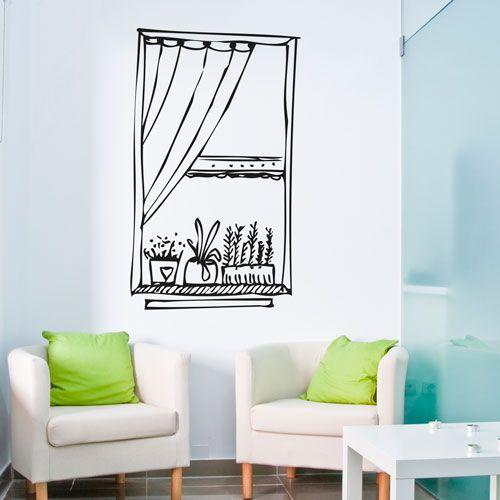 vinilo decorativo de una ventana dibujada con macetas. Dará profundidad y amplitud a tu habitación.