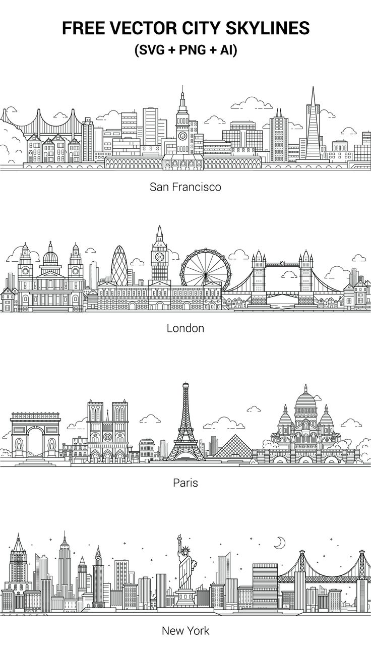 Today we've got a beautiful set of city skylines vectors for your next project. The vectors are free to use for any commercial or non-commercial projects.