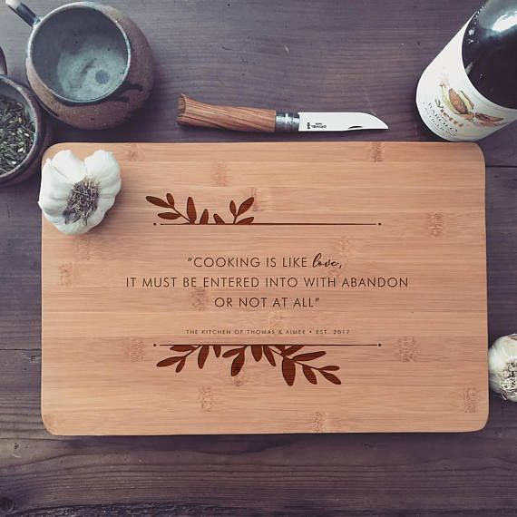 Personalized Cutting Board / Custom Butcher Block with Quote for Wedding Gift, Engagement Gift, or Mothers Day Gift, or Housewarming Gift
