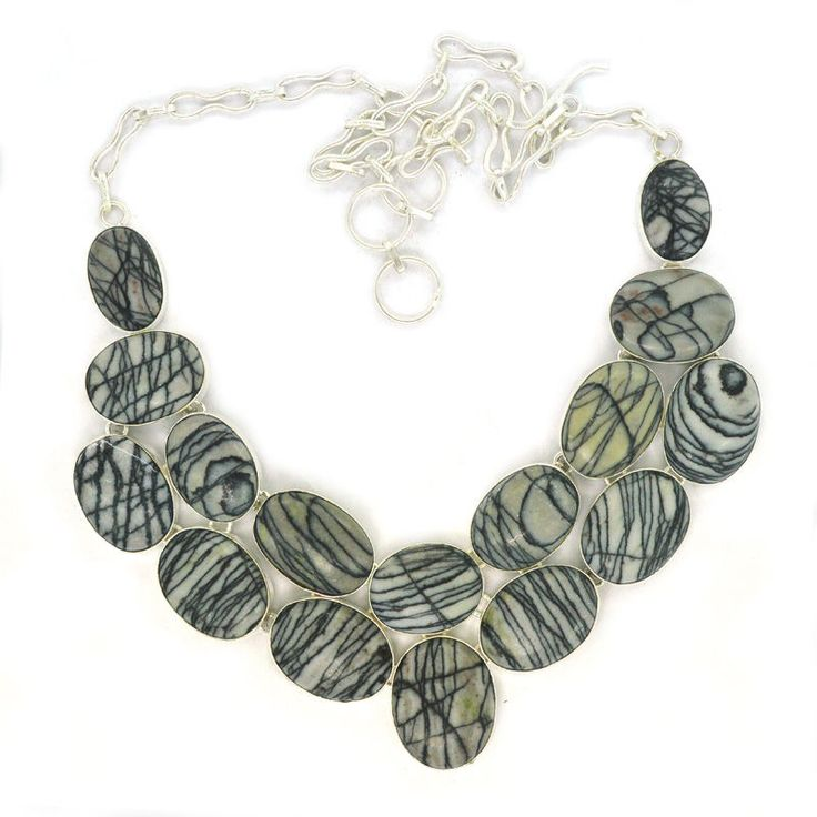 Jasper Gemstone 925 sterling Vintage Silver Plated Necklace Women Gift New Jewel #Handmade #Bib