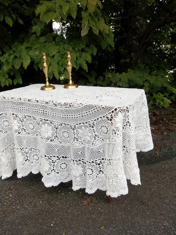 Vintage Tablecloth Crochet Lace Topper Wedding Decor Table Settings French Country Ivory Lace Sewing Supplies Topper