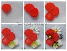 Tintas fosca pra artesanato : vermelho fogo (flor) Verde pistache e branco (folha)