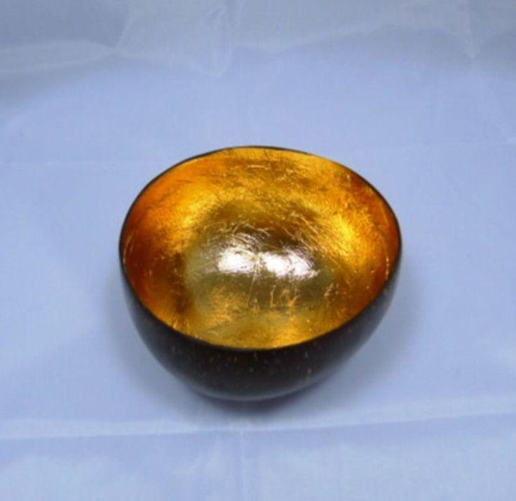 THAI HOMEMADE GOLD LEAF COCONUT SHELL WOOD BOWL CANDLE LIGHT DECOR HOME  SPA #Handmade