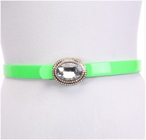 LIME FAUX LEATHER ADJUSTABLE RHINESTONE BUCKLE BELT