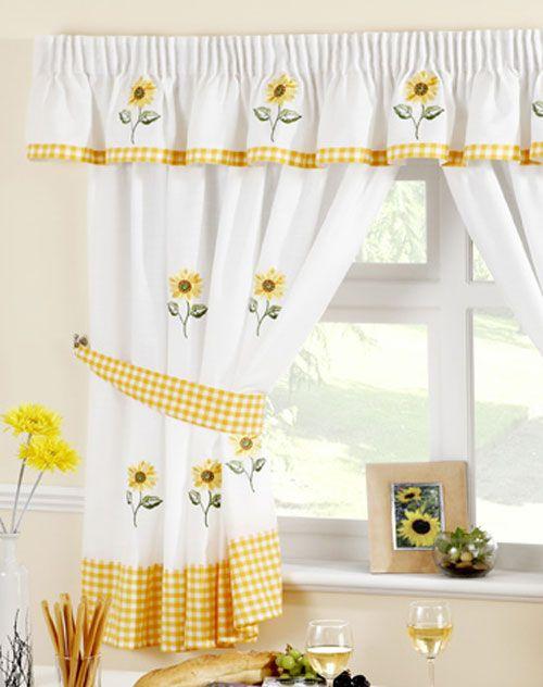 Beautiful Sunflower Theme Kitchen Curtains
