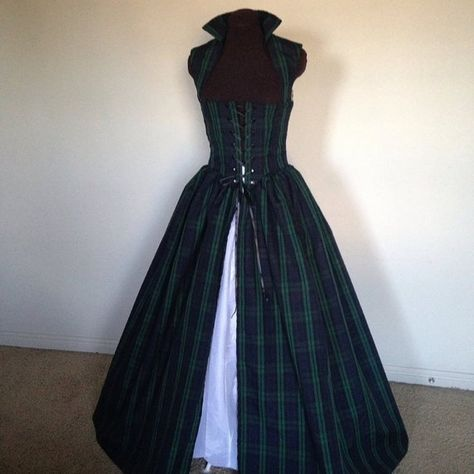 Plaid Celtic Green Blue and BlaCk Scottish Renaissance Over Gown Dress Made for you!!! and one ready now!!