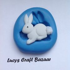 Silicone Mould Spring Easter Bunny Rabbit 2 Sugarcraft Cupcake Topper Chocolate