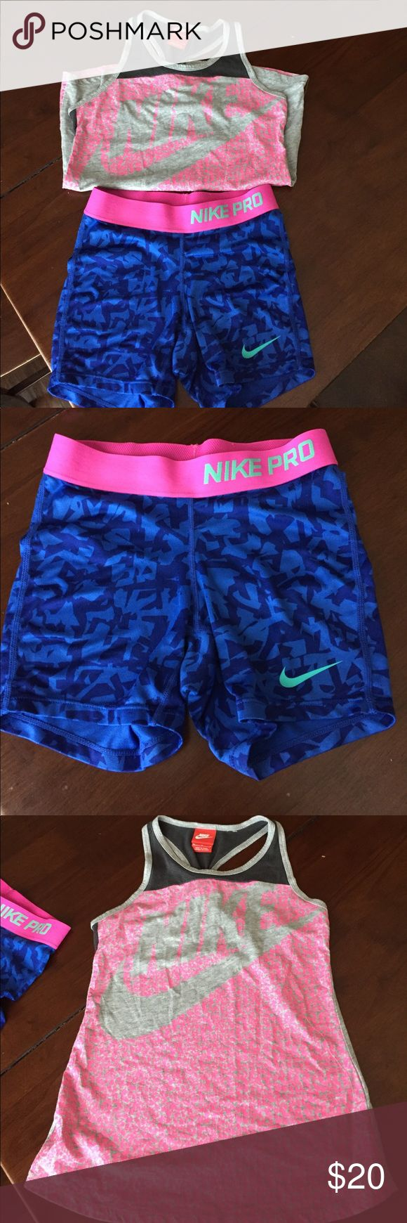 Girls Nike athletic outfit. Girls Nike workout shorts and tank top. Great condition. Nike Matching Sets