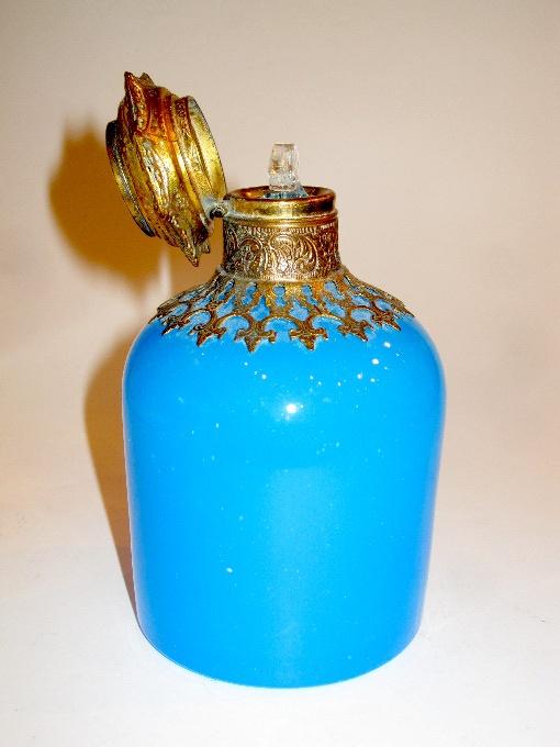 Palais Royal French 19th century Blue Opaline Glass Perfume Bottle with Dore Bronze Mounts and Miniature depicting L`Arc de Triomphe.