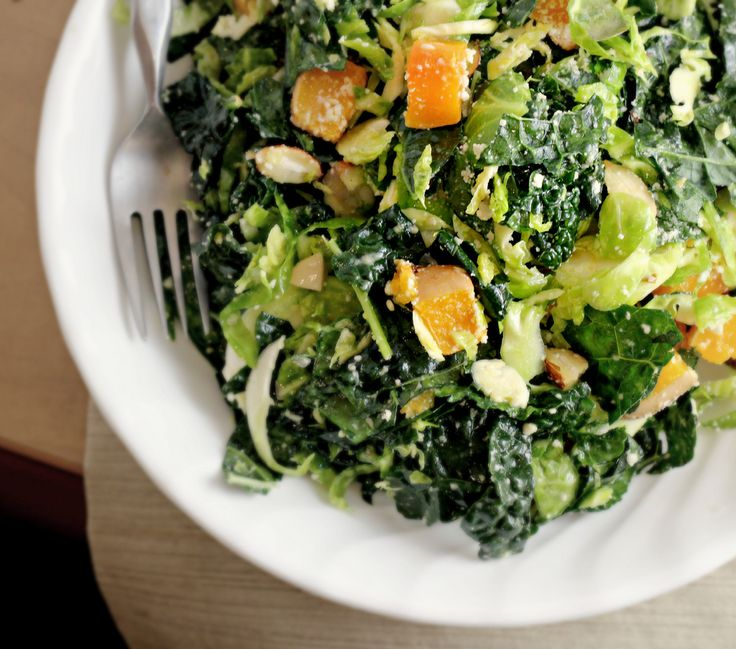 kale and brussels sprout salad with butternut squash