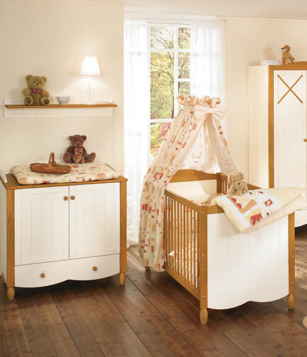 Baby Nursery With Bed Curtains Bedding And Changing