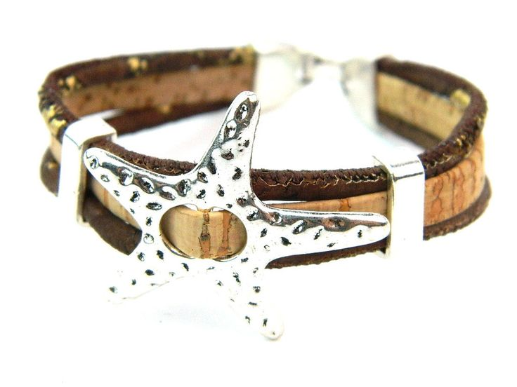 От европа португалия браслеты пробка ювелирные изделия браслеты, Три веревка серебряный сплав морская звезда, Мягкий естественная дерево цвет браслет