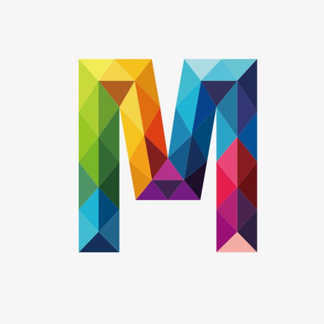 Colorful Letters M Letter Colorful M Png Image And Clipart M Letter Design Polygon Art Lettering