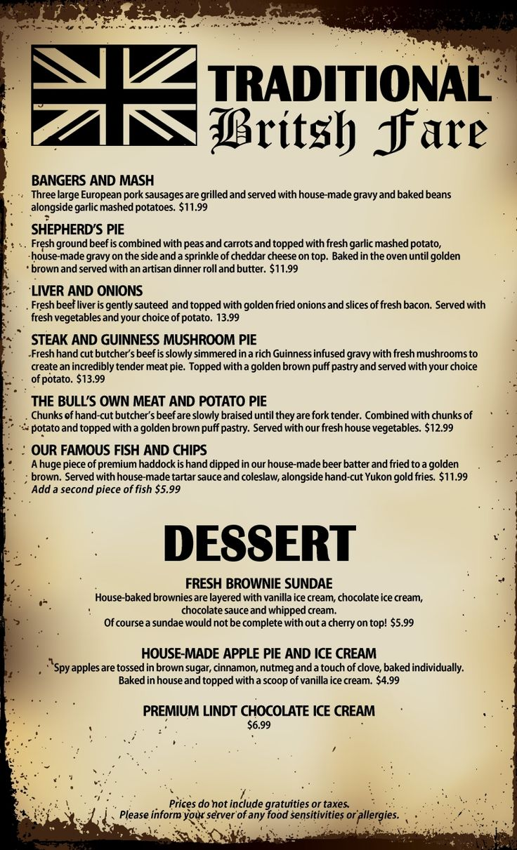 British Pub Food Menu Ideas