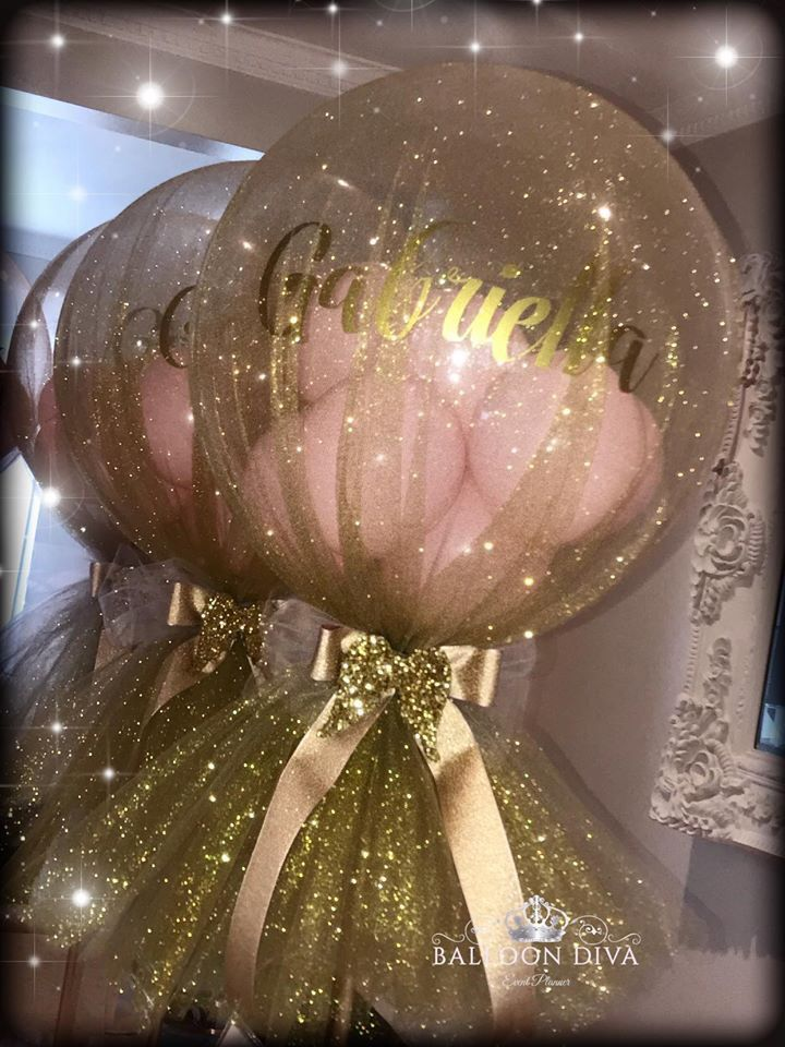 Tulle covered balloon Centrepiece