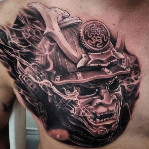 Samurai tattoos inked tattoo ink chest samurai for Japanese war tattoos