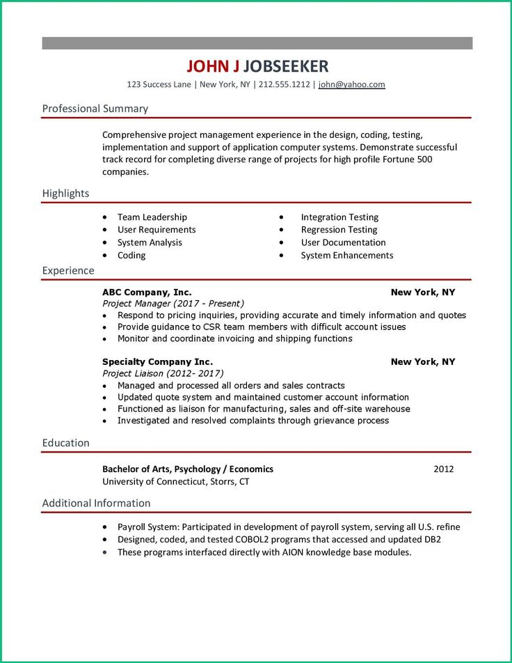 Clean and simple resume examples for your job search. Copy
