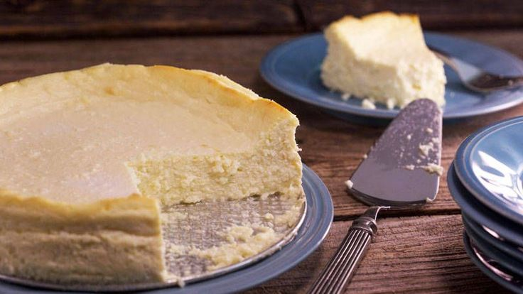 flourless Italian Ricotta Cheesecake I'd grease the pans and add cookie crumbs instead of flour