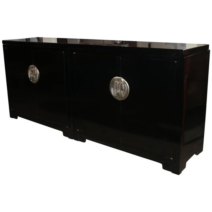 Mid-Century Baker Black Credenza Buffet | From a unique collection of antique and modern credenzas at https://www.1stdibs.com/furniture/storage-case-pieces/credenzas/