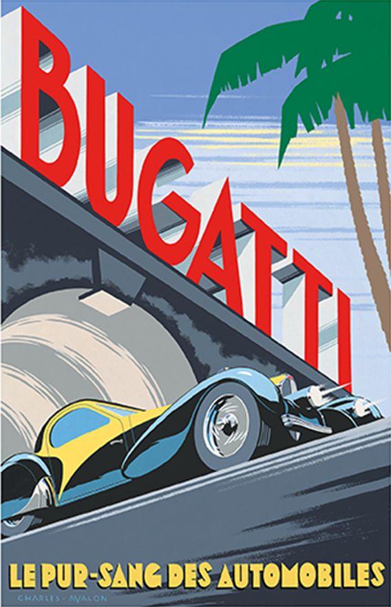 PEL401: 'Bugatti Type 57 Atalante' by Charles Avalon - Vintage car posters  - Art Deco - Pullman Editions - Bugatti