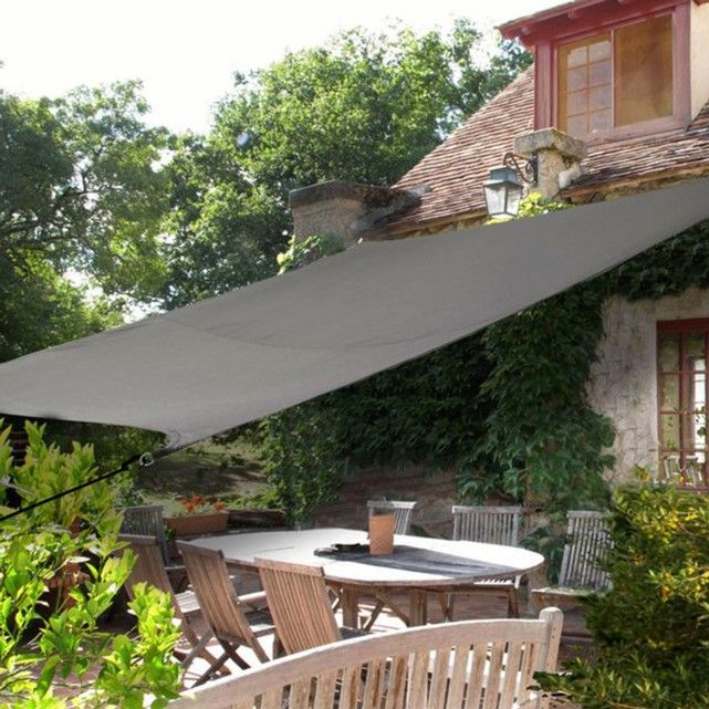 Waterproof with an anti-UV treatment, the rectangular shade sail allows you to cover your patio or a corner of the garden with elegance. Features:Waterproof shade sail with an anti-UV treatment100% polyester 160g/m²Supplied with 4 cords: 0.6cm Ø x 150cm longSize:2.45m x 3.45m