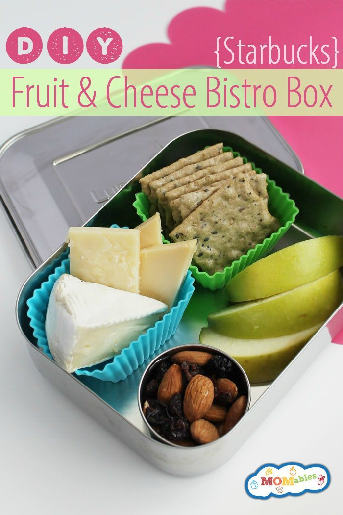 DIY Starbucks Cheese and Fruit Bistro Box via MOMables is a quick and cost effective way to get a nice snack or lunch into your day!