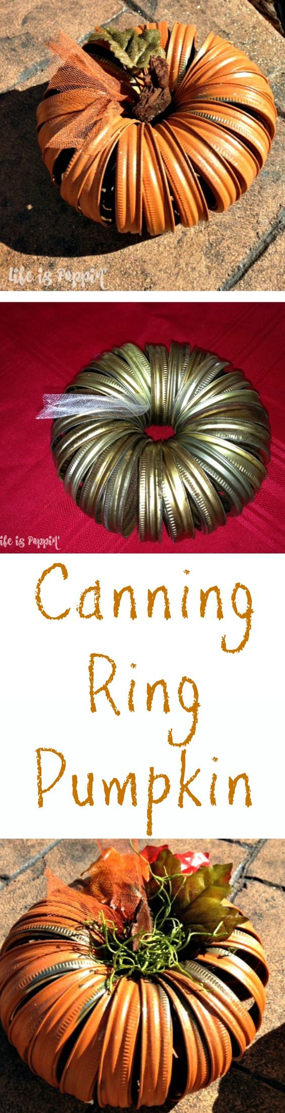 Hold it right there! Do not throw all of those leftover canning lids in the trash. How about making these super cute Canning Ring Pumpkins instead? This is such a fun and frugal craft idea that will make a huge statement in your Fall decor.