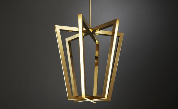 Brass frame, LED lit pendant light