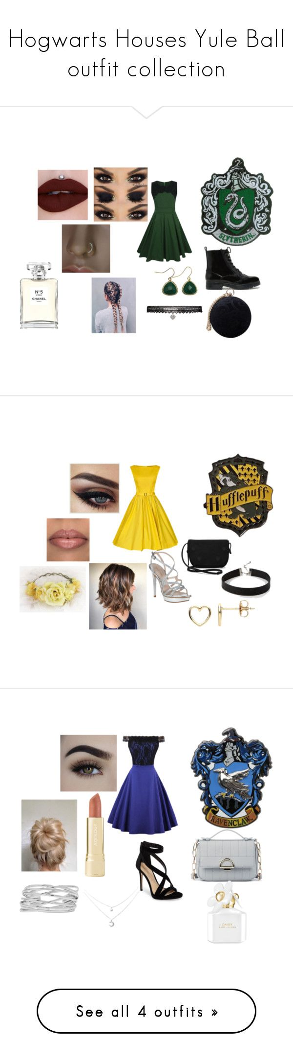 """""""Hogwarts Houses Yule Ball outfit collection"""" by hannahpb2004 on Polyvore featuring CHARLES & KEITH, WithChic, Carvela, Betsey Johnson, Zara Taylor, Jeffree Star, Chanel, Pelle Moda, TOMS and Express"""