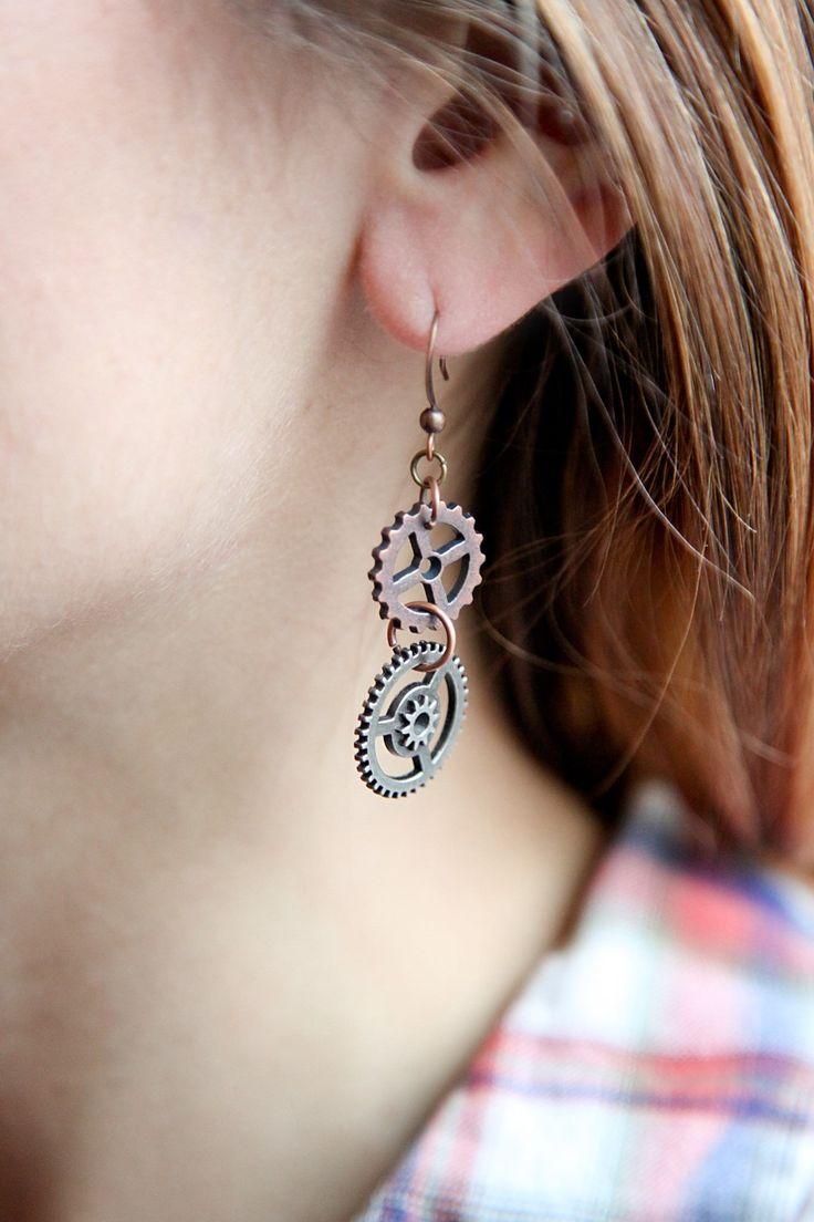 Moving Gear Steampunk Earrings $2100 #steampunk