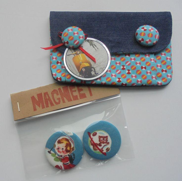 Mufko gemaakt met stoffen knopen + zelfgemaakte magneten