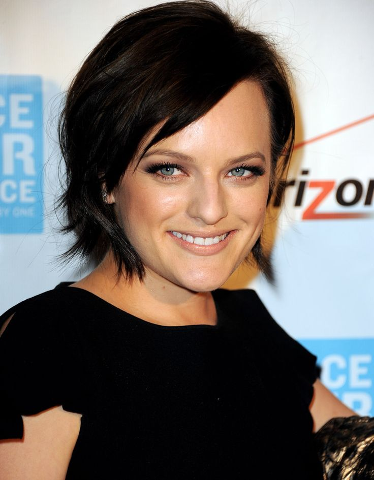Hair colour reference for cool palette - Elisabeth Moss, choppy short cut, dark colour.