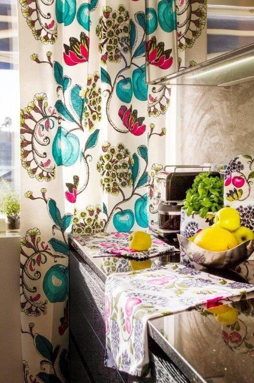 Vallila Interior Persikka turquoise curtain & Persikka kitchen accessories