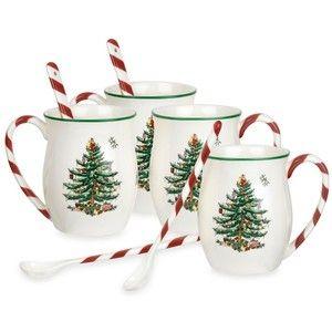 Spode Christmas Tree Mugs Candy Cane