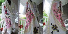 Vtg Island PEACOCKS in LOVE Handmade Chenille Bedspread Bathrobe So Soft Robe