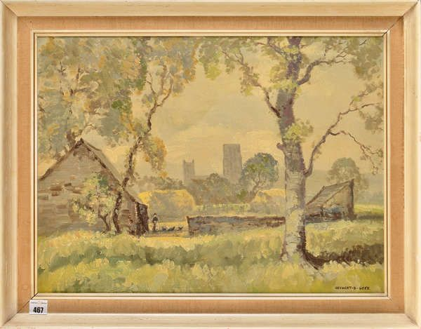 LOT:467 | Herbert Bewick Dees ''DURHAM CATHEDRAL FROM SOUTH END'' signed; signed and inscribed with title verso oil on board 37 x 49.5cms; 14 1/2 x 19 1/2in. PROVENANCE Purchased from the Artist for £8 8s; sold together with a letter from William ''Bill'' Farrell, Warden of the Spennymoor Settlement, discussing the negotiation of the sale and dated 6th March, 1950.