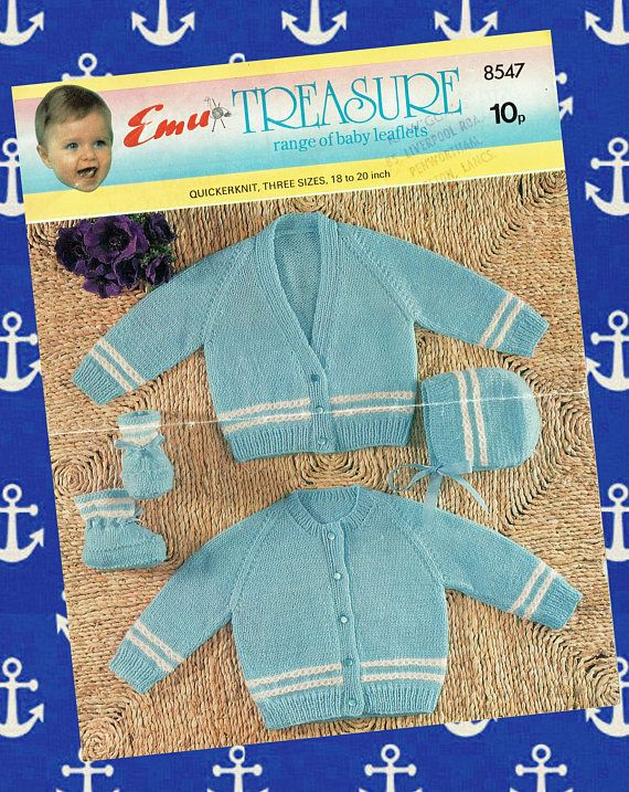 Original Vintage Baby Sailor Knitting Pattern Emu 8547