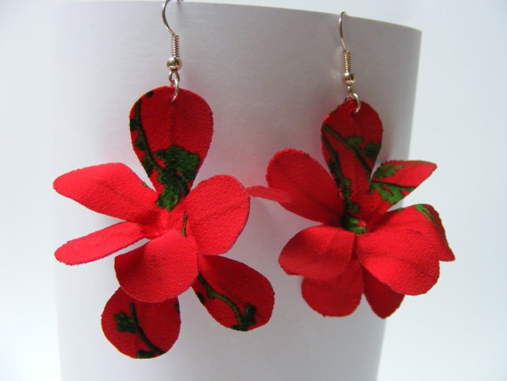 Flexible Fabric Orchid Earrings - $20 - One-of-a-kind fabric earrings, specially made so you can bend each petal to create a different flower every time! appr. 8 cm