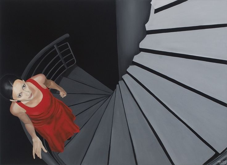 László Fehér (Hungarian, b. 1953): On the Stair, 2005. Oil on canvas, 160 x 220 cm. © László Fehér.