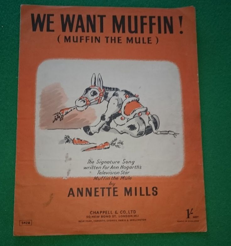 Muffin the Mule   We want Muffin!! sheet music  Annette Mills   1950  TV   Theme song. by bastarduk on Etsy