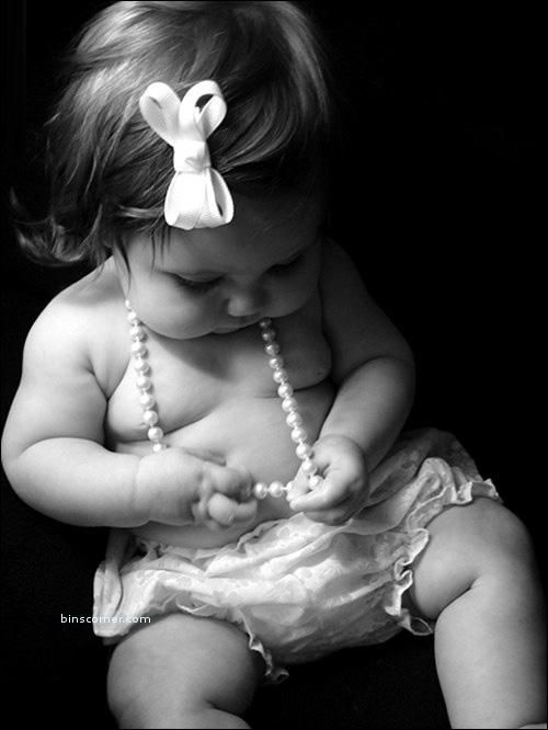 Baby Girls- I did Brooklyn's 3 month pictures like this, wearing only bloomers and mommy's pearls. SO sweet. Will have to do again with this one!