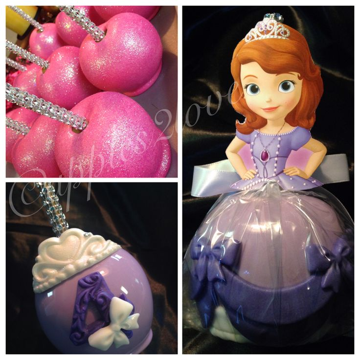 "Princess themed party... ""Sofia the First"" Candy Apples. #candyapples…"