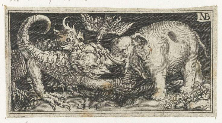Nicolaes de Bruyn   Olifant in gevecht met fantasiewezens, Nicolaes de Bruyn, 1594   Olifant in gevecht met fantasiewezens die naar hem uithalen met hun klauwen. Een vogel, mogelijk een kraai, valt het klauwende beest aan.