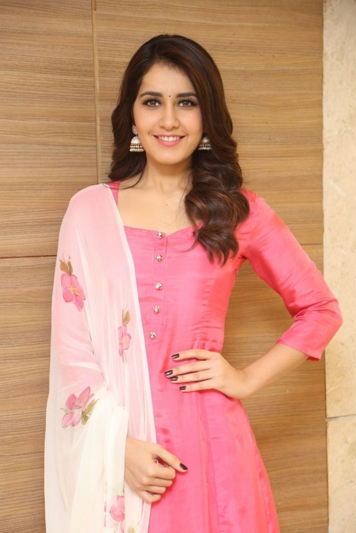 Raashi Khanna Stills At Tholi Prema Movie Success Meet