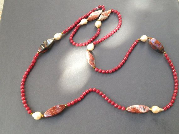 Necklace with baroque pearls quartz  and other by EMAPRECIOUS