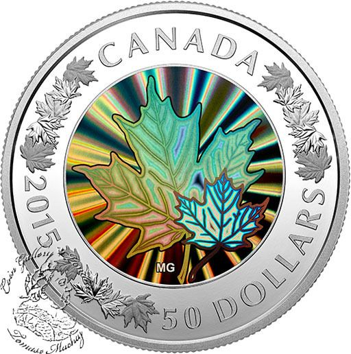 Coin Gallery London Store - Canada: 2015 $50 Lustrous Maple Leaves Silver Coin, $519.95