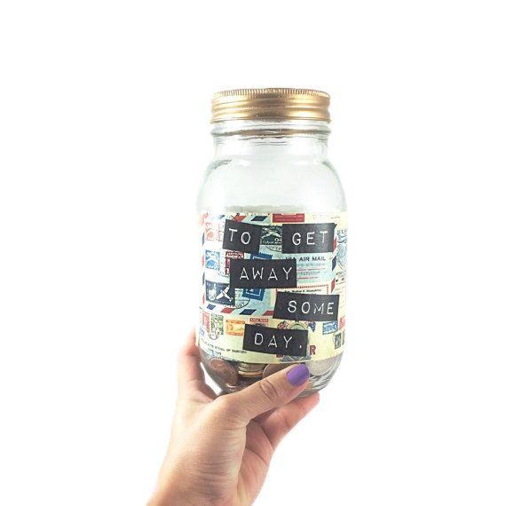 Glass Mason Jar Money Bank for Travel Savings, Unique Travel Gift, Saving Jar, Vacation Jar, Piggy Bank Money Pot with Postage Design