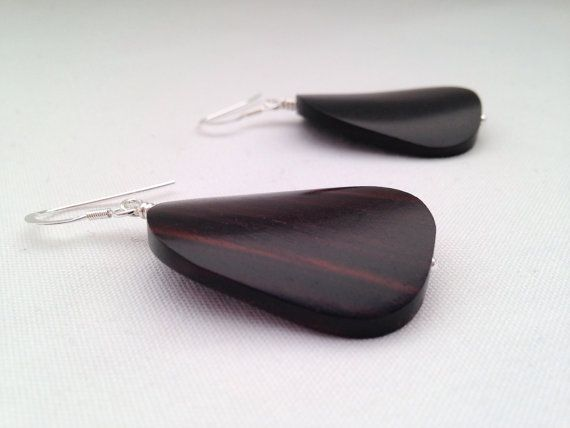 Tiger Ebony earrings - Large twisted oval tiger ebony beads with sterling silver - Wooden earrings